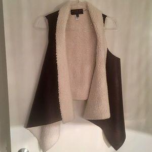 Jackets & Blazers - Faux Leather Sherpa Vest